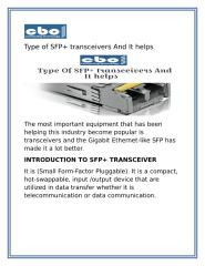 Type Of SFP+ transceivers And It helps.docx