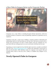 5 New Clubs in Gurgaon Sector 29 for Corporate Parties.pdf